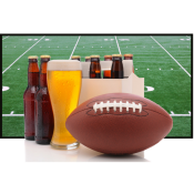 Super Bowl football and beer